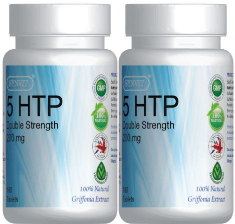 SYNVIT® Double strength 5-HTP 200mg - 2 Bottles 360 Tablets